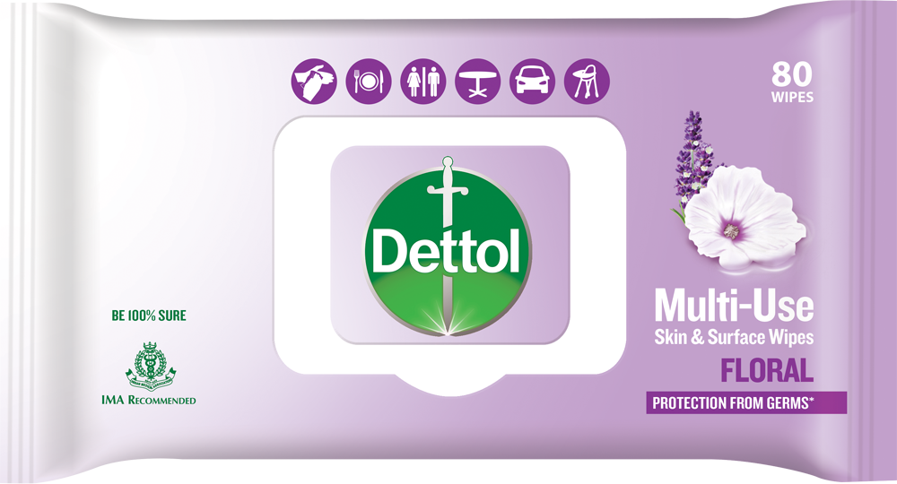Dettol Multi-Use Skin & Surface Wipes Floral